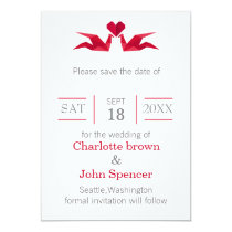 origami red cranes save the date card