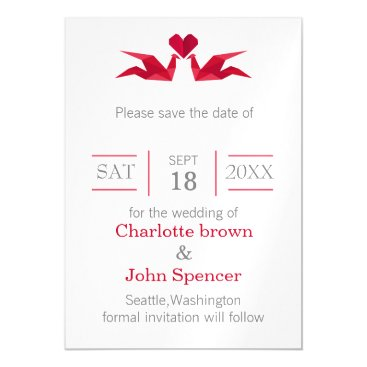 origami red cranes save the date magnetic card