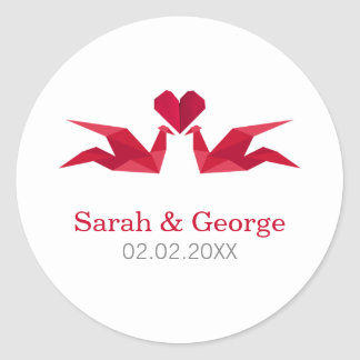 origami red cranes Wedding favors stickers