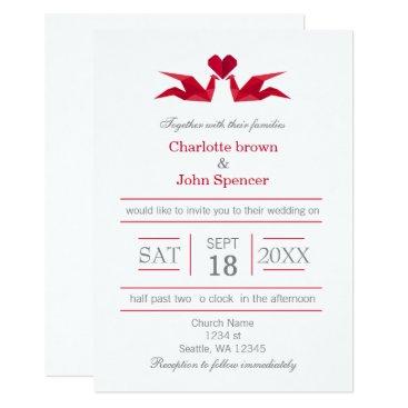 origami red cranes wedding invitations