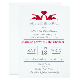 Origami Red Cranes Wedding Invitations