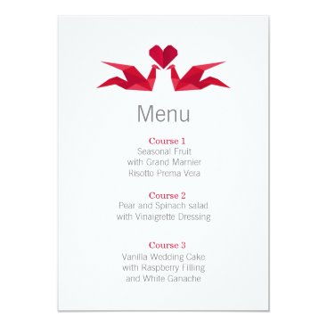 origami red cranes wedding menu cards