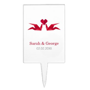 origami red cranes Wedding personalized cake picks