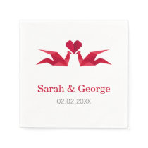 origami red cranes Wedding personalized napkins
