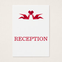 origami red cranes wedding reception invite