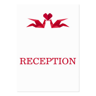 origami red cranes wedding reception invite business card template