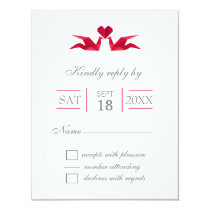 origami red cranes wedding RSVP Card