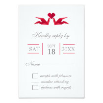 origami red cranes wedding RSVP cards