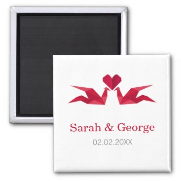 origami red cranes Wedding save date magnets