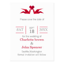 origami red cranes wedding save the dates postcard