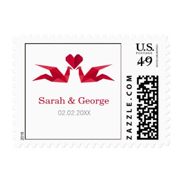origami red cranes wedding stamps
