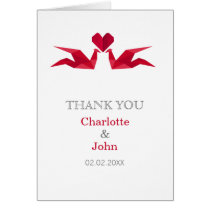 origami red cranes Wedding Thank You cards