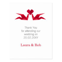 origami red cranes Wedding Thank You Postcard