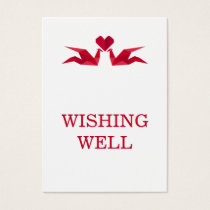 origami red cranes wedding wishing well business card