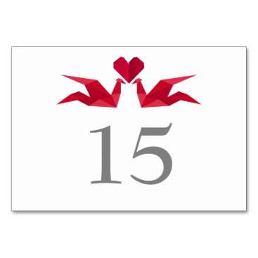 origami red paper cranes Wedding table numbers
