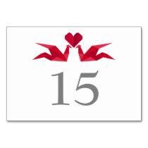 origami red paper cranes Wedding table numbers Card