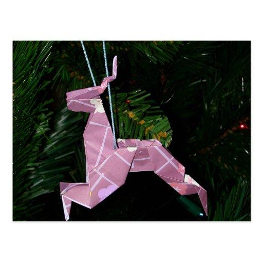 origami reindeer christmas decoration postcard zazzle
