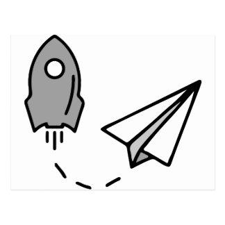 origami Rocket y aeroplano de papel Tarjetas Postales