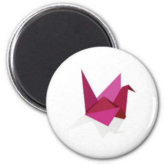 origami swan 2 inch round magnet