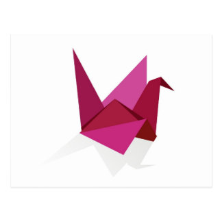 origami swan postcard