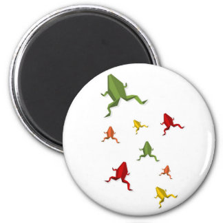 origami vibrant colors frog 2 inch round magnet