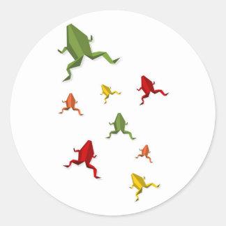 origami vibrant colors frog classic round sticker