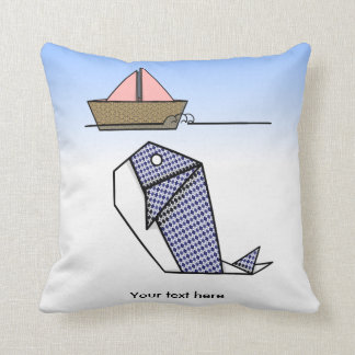 Origami Whale Moby Dick Throw Pillow