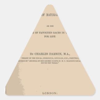 Origen de la especie mediante la selección natural pegatina triangular