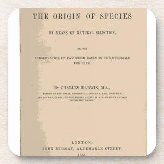 Origen de la especie mediante la selección natural posavasos de bebida