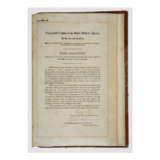 ORIGINAL 17th Amendment U.S. Constitution Poster