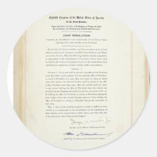 ORIGINAL 22nd Amendment U.S. Constitution Stickers
