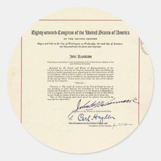 ORIGINAL 24th Amendment U.S. Constitution Classic Round Sticker