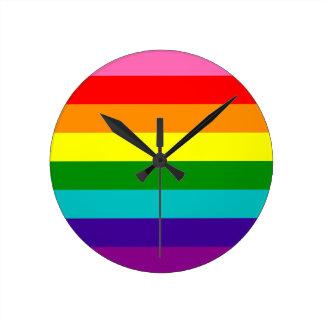 Original 8-Stripe LGBT Gay Pride Rainbow Flag Round Clock
