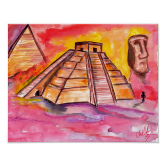 Original abstract Egypt design bright color poster