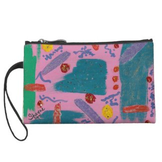 Original Abstract Pink Blue Green Mini Clutch Wristlet Clutches