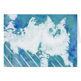 Original Abstract Siberian Cat Note Card