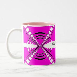 original abstract speaker design pink Two-Tone coffee mug