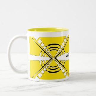 original abstract speaker design yellow Two-Tone coffee mug