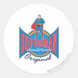 Original americana del superhombre pegatina redonda