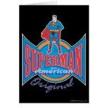 Original americana del superhombre tarjeta de felicitación