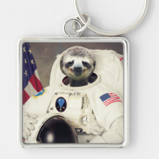 Original Art Astronaut Sloth Keychain