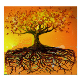 Original Art- Distressed Grunged Roots Tree Poster