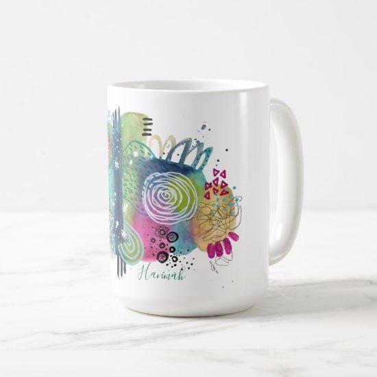 Original Art Fun Add Name Colorful Modern Abstract Coffee Mug