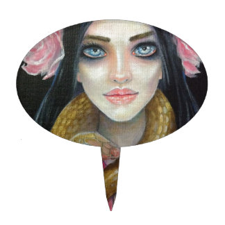 Original art painting of a girl and her snake cake toppers