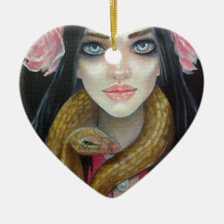 Original art painting of a girl and her snake ceramic ornament