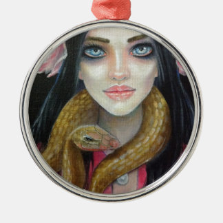 Original art painting of a girl and her snake metal ornament