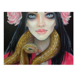 Original art painting of a girl and her snake postcard