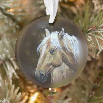 Original art palomino horse western ornament