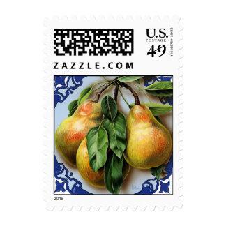 Original art. Pears on blue. Postcard stamp.