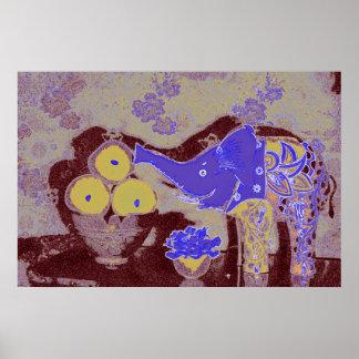 Original Art Poster--Elephant & Apples/Blue & Gold Poster